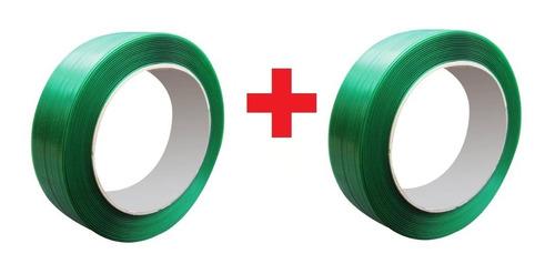 2 Rolos (kit) Fita Cinta De Arquear Pet Poliester Verde 16mm