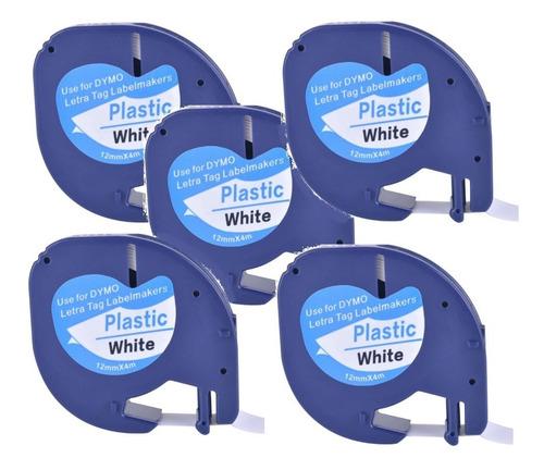 Kit 5 Fita 91201 T Compatível Dymo Letratag Plastica Branca