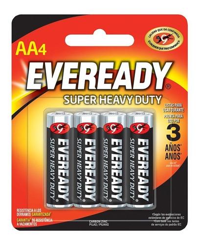 Blister 4 Pilas Zinc Carbon Eveready Aa Super Heavy Duty Nox