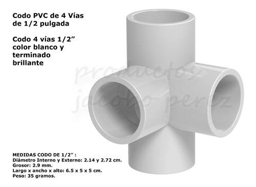 Codos De Pvc De 4 Vías 1/2 Pulgad - Unidad a $8000