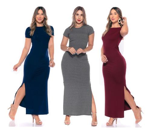 Vestido Versáti Casual Manga Curta Longo Nova Moda Feminina