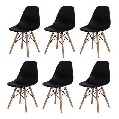 Kit 6 Cadeiras Charles Eames Eiffel Base Madeira Nw