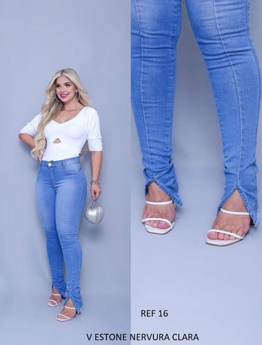 Calça Feminina Jeans Cintura Alta Com Lycra Barata Qualidade