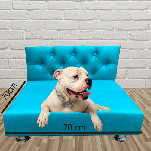 Cama Pet Box Suede Azul Turquesa 70 X 70 X 15 Lançamento