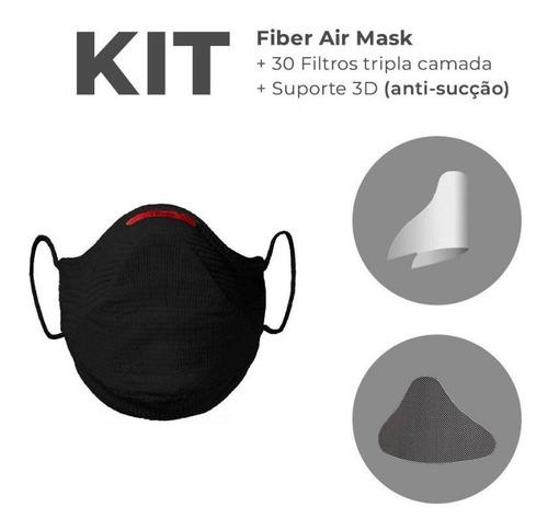 Kit Máscara Fiber Knit Air + 30 Filtros + Suporte