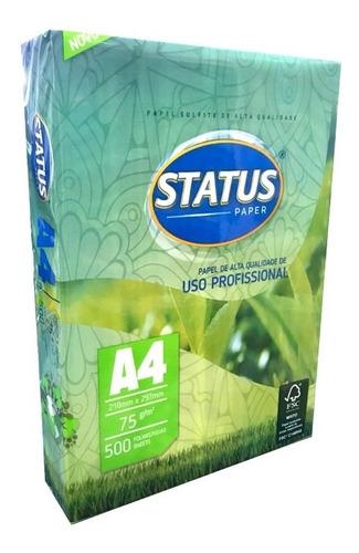 Papel Sulfite A4 75g Branco Pacote Com 500 Folhas Status