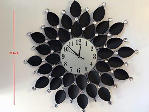 Decoracion Del Hogar Reloj De Pared Grande Hoja Negra Metal