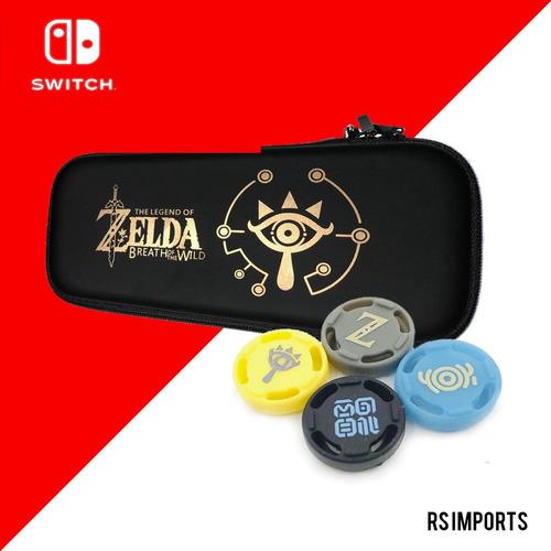 Case Capa Estojo Nintendo Switch Zelda + 4 Grip Zelda