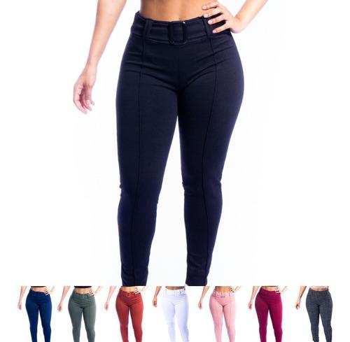 Calça Skinny Jacquard Com Cinto Super Luxuosa Moda Envio 24h