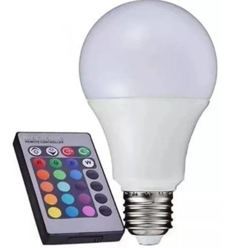 Lampada Bulbo Led Rgb 10w+controle Remoto E27 Bivolt