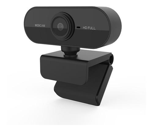 Webcam Preta Full Hd 1080p Usb Gira 360º Com Microfone Top