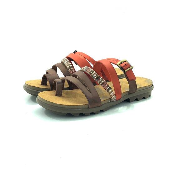 Sandalia Mujer Cuero Chocolate 36502 El Mercado De Zapatos!