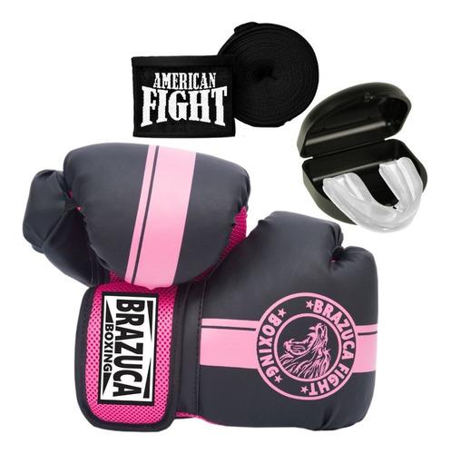 Kit Boxe Muay Thai Luva Bandagem Bucal Feminino Top