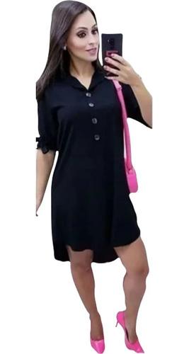 Vestido Chemise Feminino Camisao Viscolinho Manga Chamise