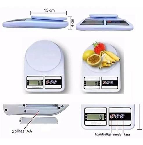 Balança De Precisão Cozinha 10kg Dieta Comida Já C/ Pilhas