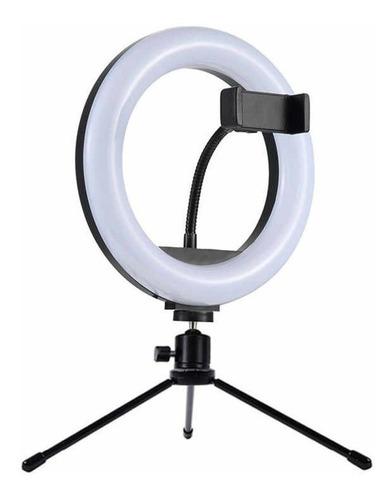 Anel Ring Light 8 Pol + Tripé De Mesa + Suporte Cel Video