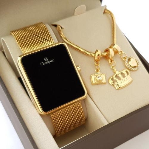 Relógio Dourado Champion Feminino Original Luxo Original