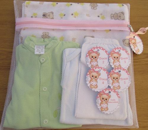 Saquinho Maternidade C/ 6 Unidades + Tag Ursa Rosa