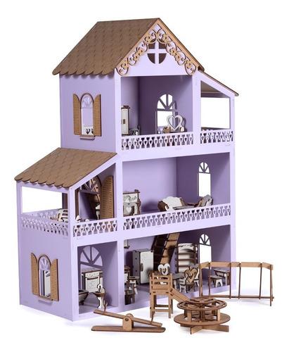 Casa Casinha De Boneca Polly Lilás + 36 Móveis+parquinho
