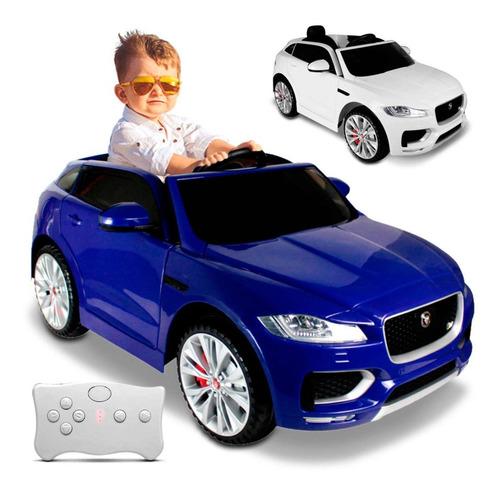 Carrinho Elétrico Infantil Crianças Jaguar Azul Branco