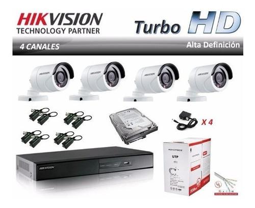 Kit 4 Cámaras De Seguridad + Instalación 1080p 1tb Dvr 4ch