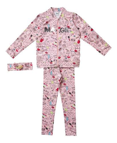 Conjunto Fem  Infantil  Legging/jaqueta/faixa P/cabelo Elian