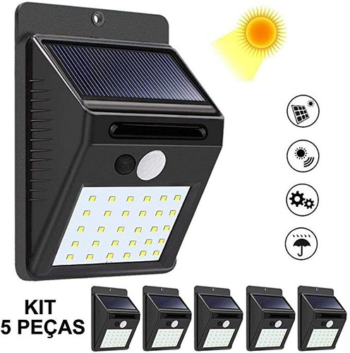 Kit 5x Luminária Solar De Parede 30 Leds Com Sensor Presença