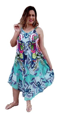 Vestido Feminino Plus Size Longo  Alça Trapézio Estampado 33