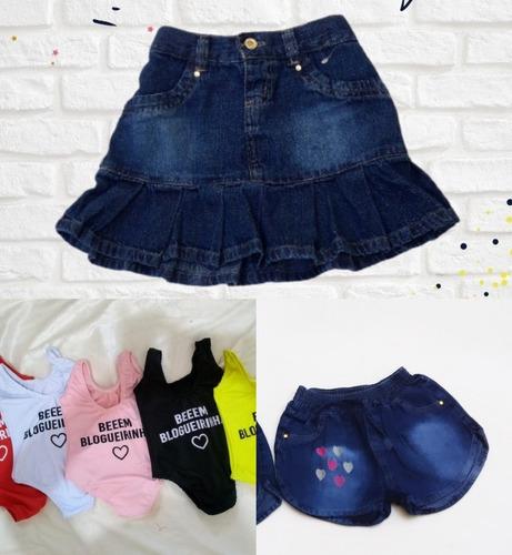 Kit Bem Blogueirinha Menina Infantil Body+saia+ Short Jeans