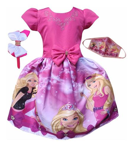 Vestido Barbie Rosa + Tiara Brinde