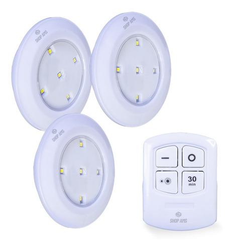 Kit 3 Lâmpadas Luminária Spot Controle Remoto S Fio Ds-10855
