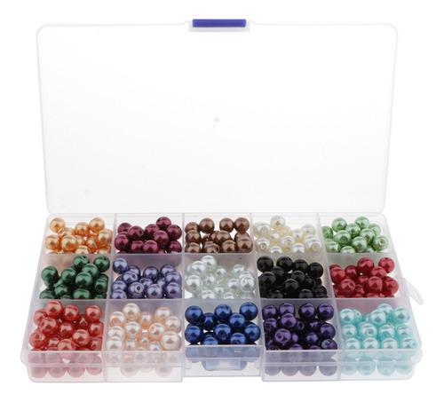 1 Caja De Perlas De Vidrio De 8 Mm, Cuentas Sueltas,