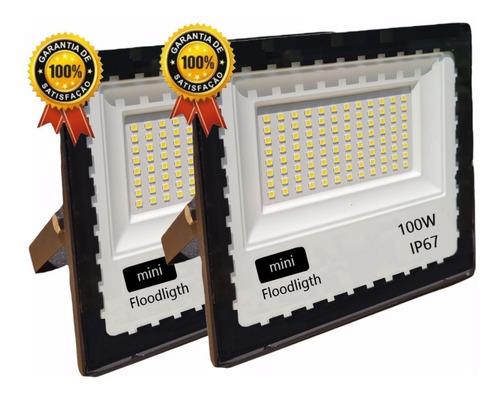Kit 2 Refletor Led 100w Holofote Bivolt Prova Dágua Frio
