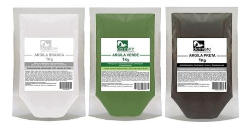 Kit Argilas Branca, Verde E Preta 1kg - Dermare 100% Puras