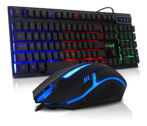Kit Gamer Teclado Semi Mecânico Mouse Rgb Multimídia Usb Pc