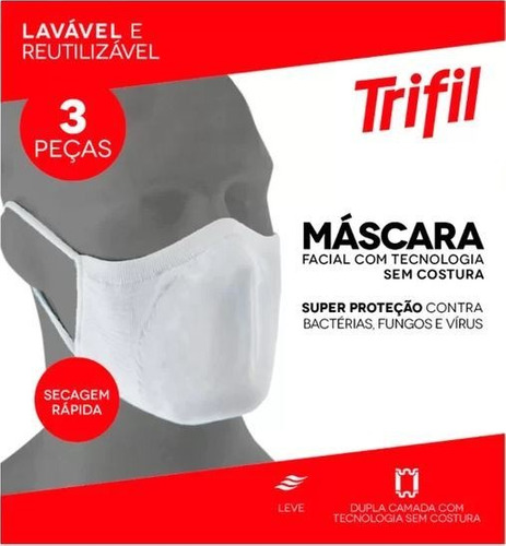 Máscara Tecido Lavável Dupla Branca (c/03 Unds) Trifil  Lupo