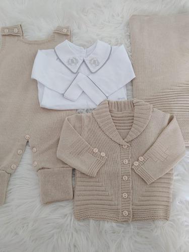Saida Maternidade Menino Trico Linha Com Body 4peças