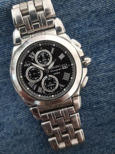 Relógio Seiko 7t62-0ew0  Executive Chrono Quartz Xxl Safira