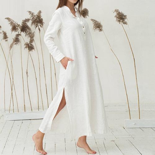 Mulheres Casual Vestido Longo Manga Comprida Bolsos Laterais