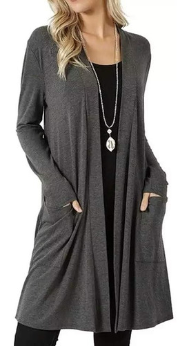 Cardigan Kimono Longo C/bolso Plus Size Casaquinho Feminino
