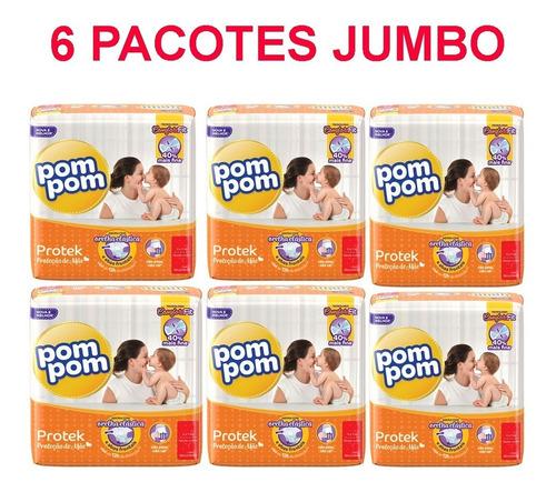 6 Pacotes Kit Fraldas Pompom P M G Xg Jumbo Protek Fralda