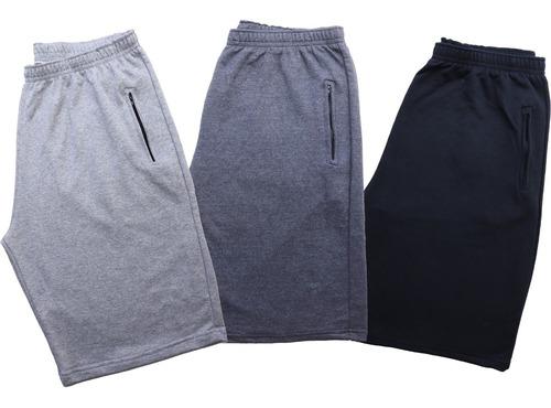 Kit 3 Shorts Bermuda Moletom Masculina Plus Size G1 G2 G3 G4