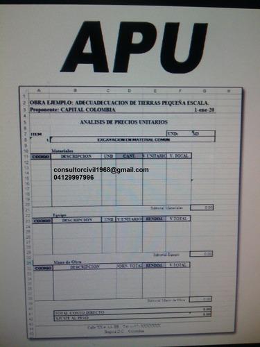Analisis De Precios Unitarios Y Presupuestos De Obras