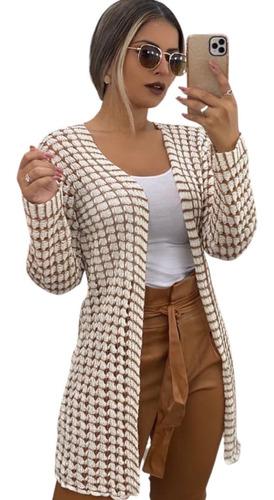 Kimono Cardigan Feminino Casaco Aberto Tricot Blusa De Frio