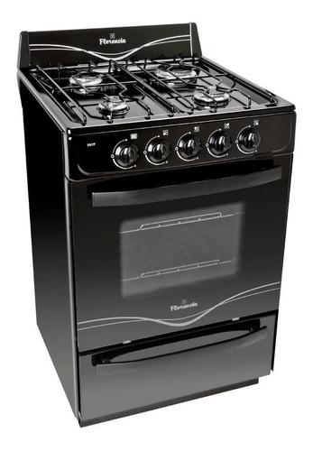 Cocina Florencia Recta 5517f Gas Natural 4 Hornallas  Negra Puerta  Con Visor 65l