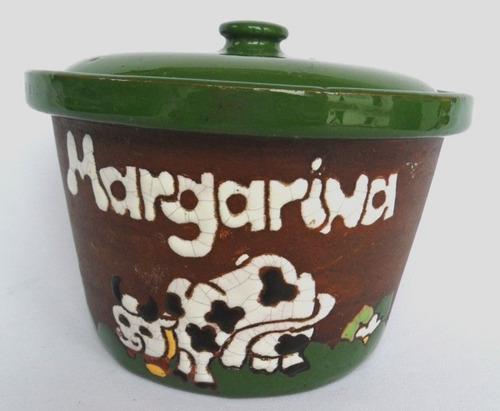 Pote Porta Margarina Cerâmica Pintada Com Motivo De Vaquinha Original