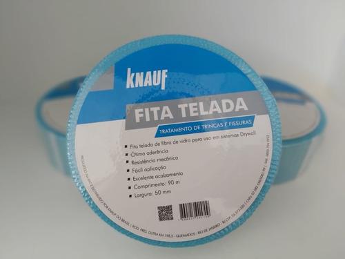 Fita Telada Drywall Fibra Vidro Premium Azul 50mmx90m Knauf