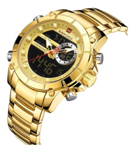Relógio Masculino Naviforce 9163 Em Aço Dourado