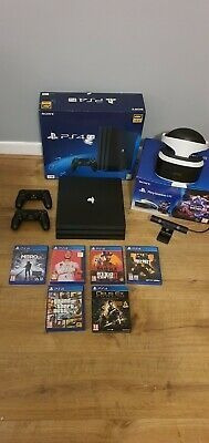 Sony Playstation 4 Pro 1tb Game Console - Black With Vr Head