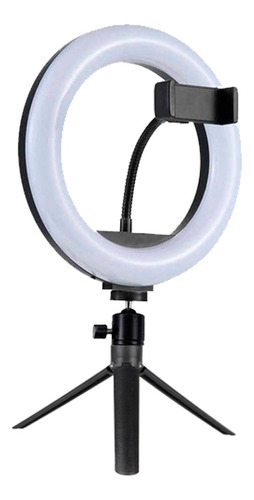Anel Ring Light 8 Pol + Tripé De Mesa + Suporte Cel Video